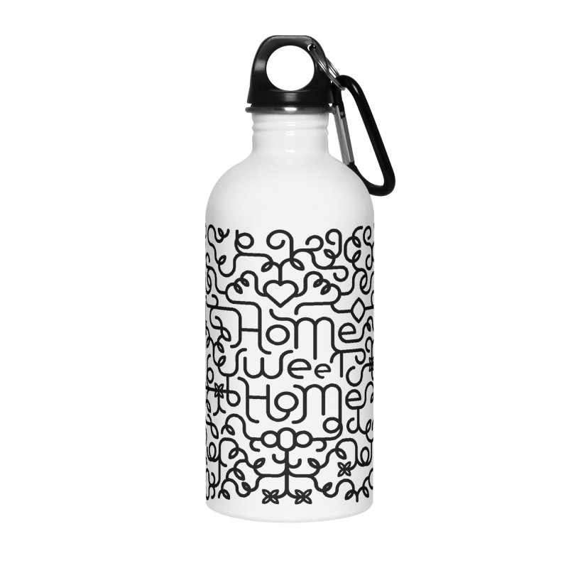 Home Sweet Home Typography Accessories Water Bottle by Sidewise Clothing & Design