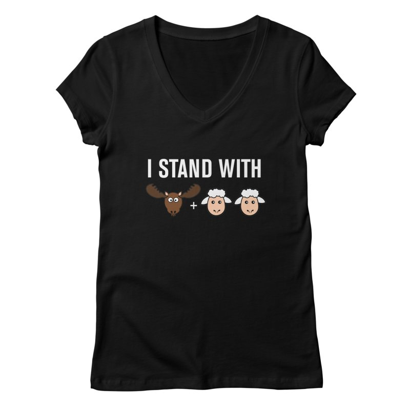 I STAND WITH MOOSE LAMBS Women's V-Neck by sidroos's store