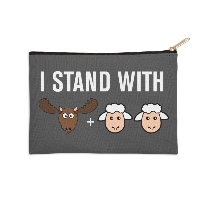 I STAND WITH MOOSE LAMBS Accessories Zip Pouch by sidroos's store
