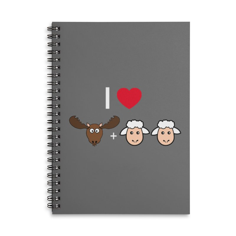 I LOVE MOOSE LAMBS Accessories Lined Spiral Notebook by sidroos's store