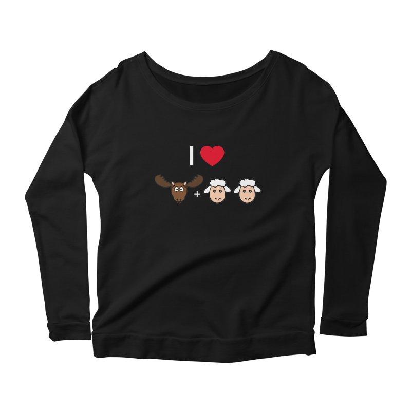 I LOVE MOOSE LAMBS Women's Scoop Neck Longsleeve T-Shirt by sidroos's store