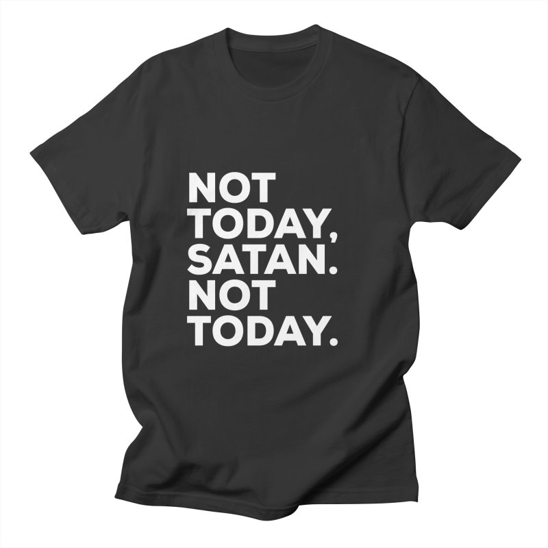 Not Today Satan - white text Men's Regular T-Shirt by sidroos's store