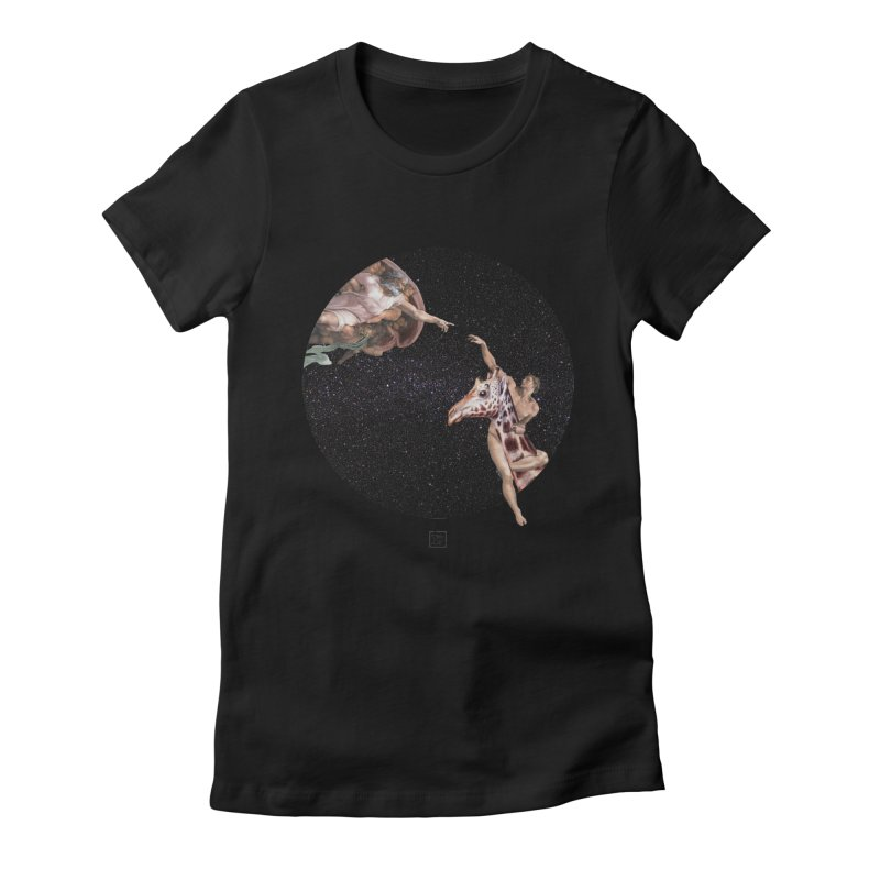 God Creates Adam Women's Fitted T-Shirt by sigmablade collage