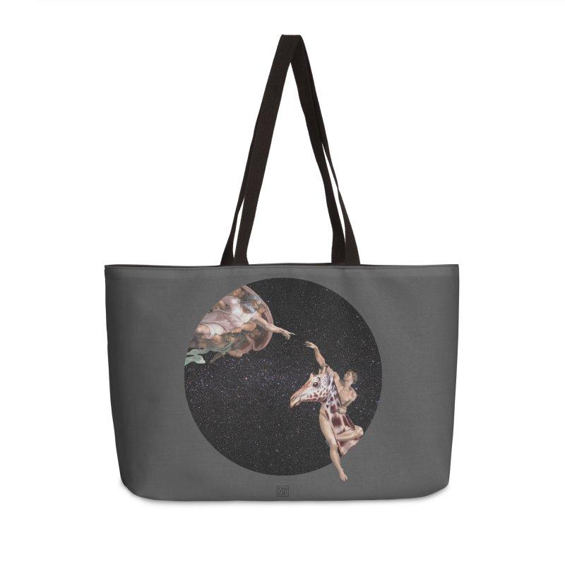 God Creates Adam in Weekender Bag by sigmablade collage
