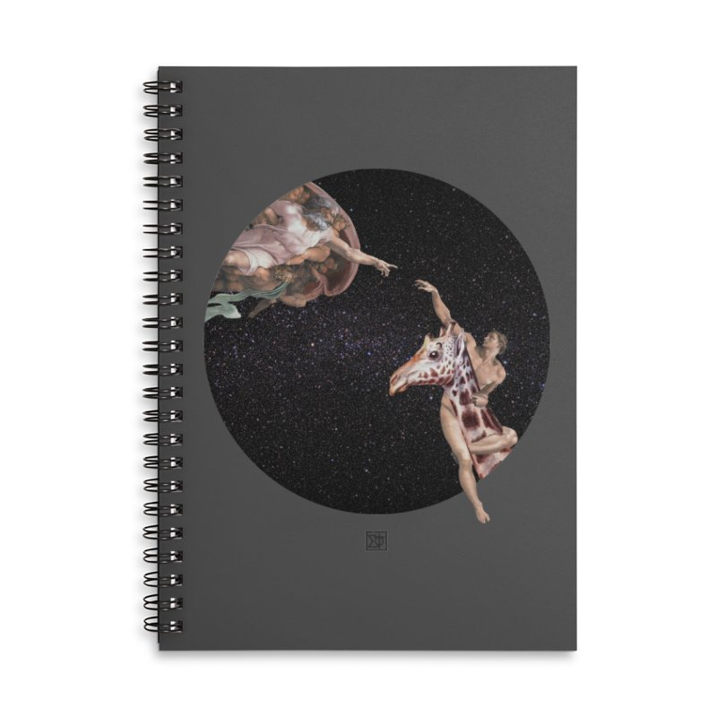 God Creates Adam Accessories Lined Spiral Notebook by sigmablade collage