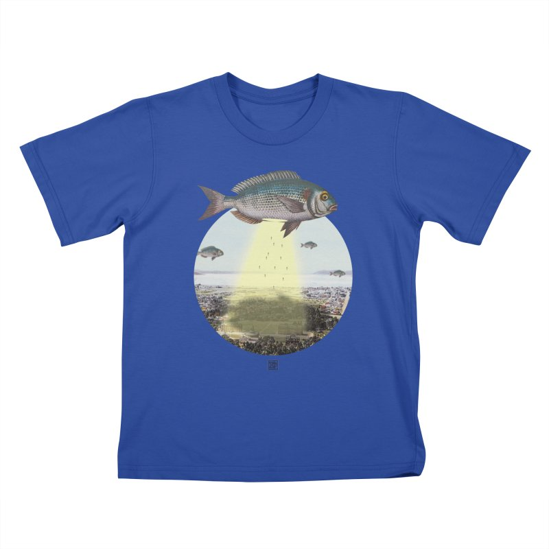 A Fishy Abduction Kids T-shirt by sigmablade collage