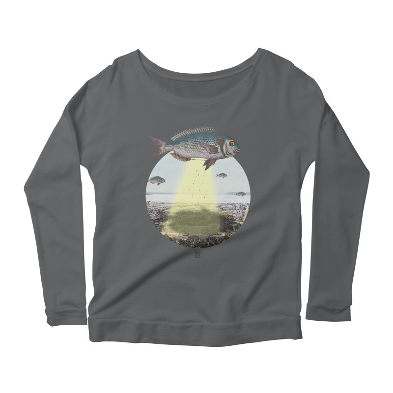 A Fishy Abduction Women's Scoop Neck Longsleeve T-Shirt by sigmablade collage