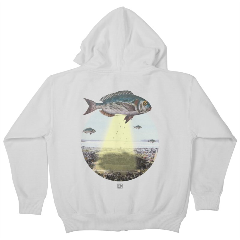 A Fishy Abduction Kids Zip-Up Hoody by sigmablade collage