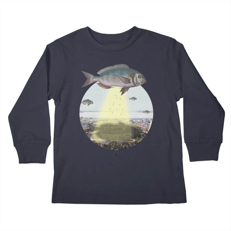 A Fishy Abduction Kids Longsleeve T-Shirt by sigmablade collage