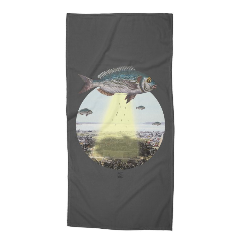 A Fishy Abduction Accessories Beach Towel by sigmablade collage