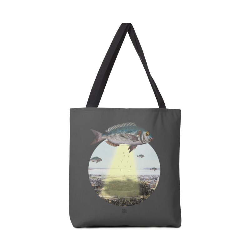 A Fishy Abduction Accessories Tote Bag Bag by sigmablade collage