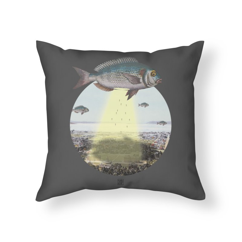 A Fishy Abduction Home Throw Pillow by sigmablade collage