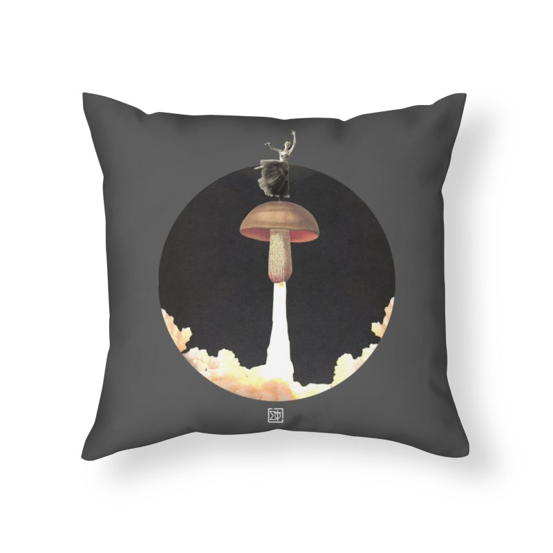 Mushroom Rocket Home Throw Pillow by sigmablade collage