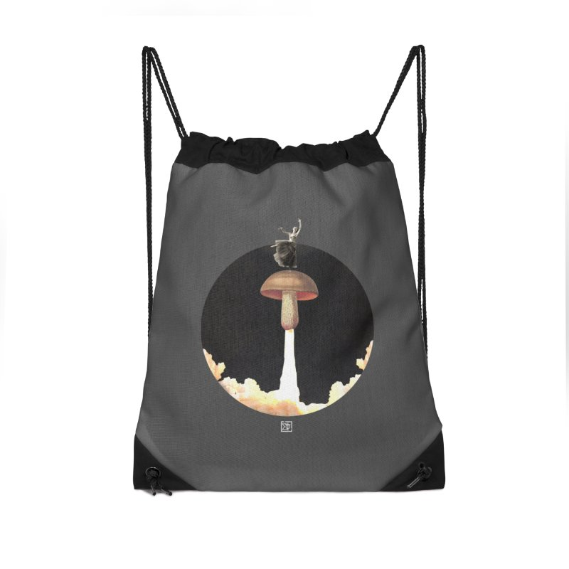 Mushroom Rocket Accessories Drawstring Bag Bag by sigmablade collage