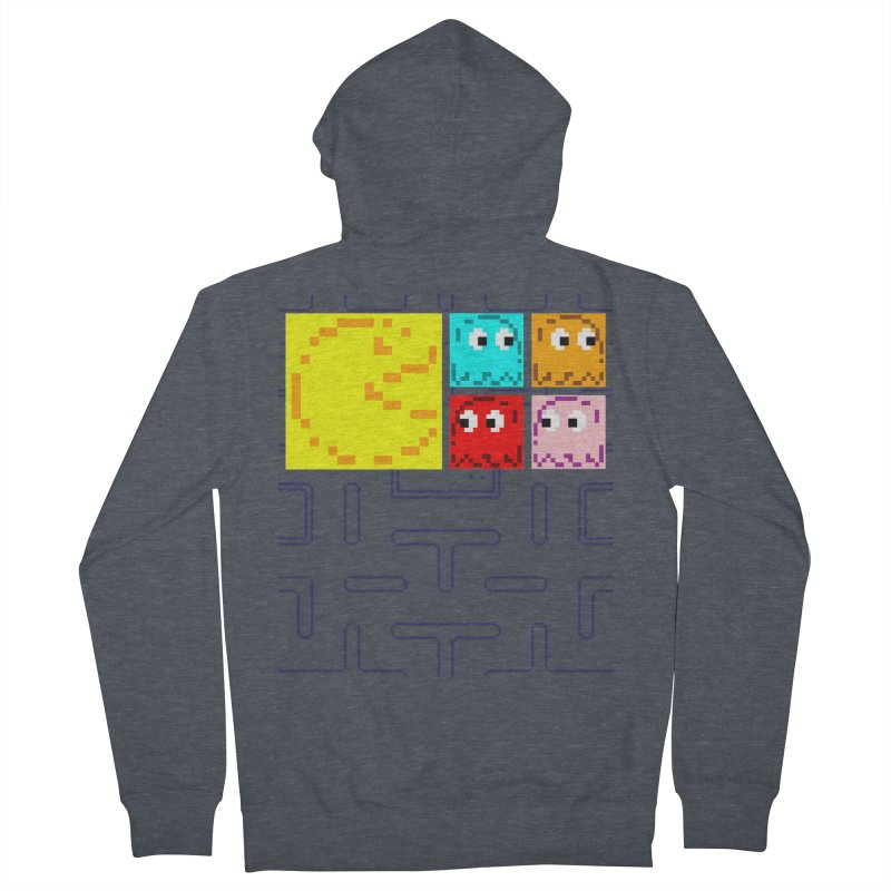 Pac-Maan & The Ghostly Gang Men's French Terry Zip-Up Hoody by Silli Philli Produktionz
