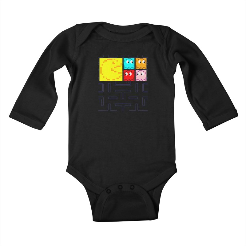 Pac-Maan & The Ghostly Gang Kids Baby Longsleeve Bodysuit by Silli Philli Produktionz