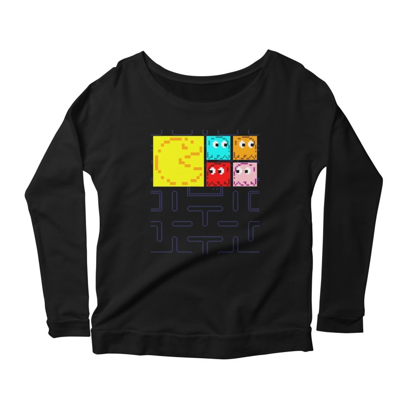Pac-Maan & The Ghostly Gang Women's Scoop Neck Longsleeve T-Shirt by Silli Philli Produktionz