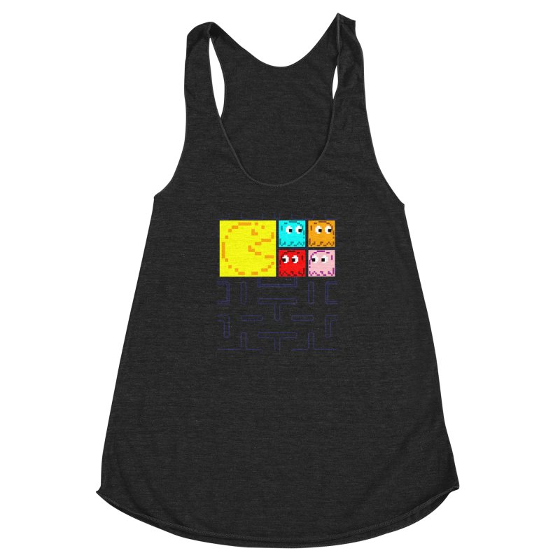 Pac-Maan & The Ghostly Gang Women's Racerback Triblend Tank by Silli Philli Produktionz