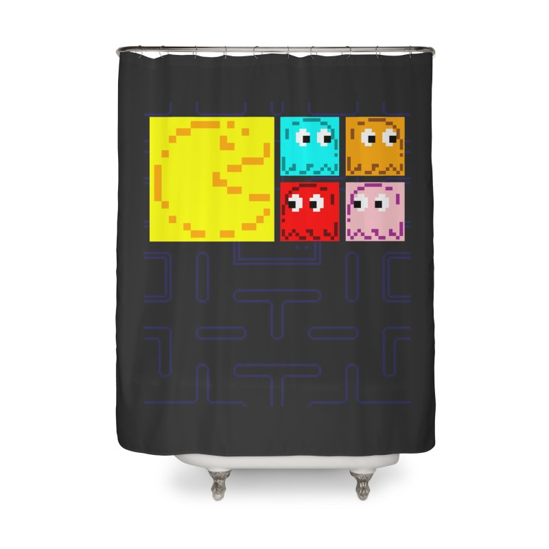 Pac-Maan & The Ghostly Gang Home Shower Curtain by Silli Philli Produktionz