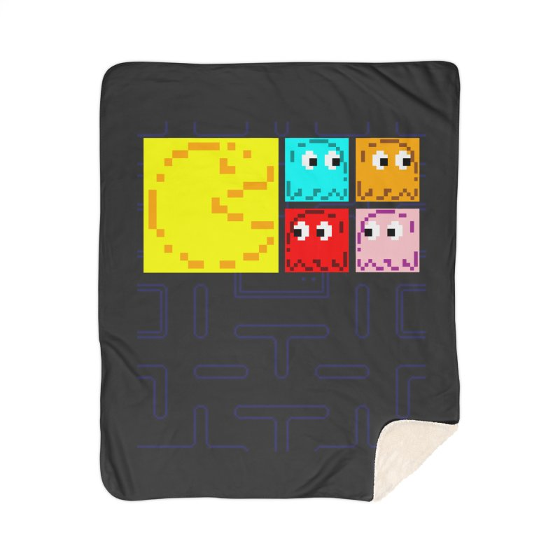 Pac-Maan & The Ghostly Gang Home Sherpa Blanket Blanket by Silli Philli Produktionz | Custom Prints