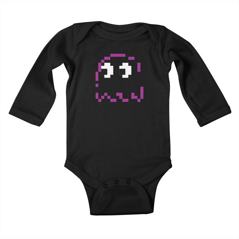 Pacman   Ghost Pinky Kids Baby Longsleeve Bodysuit by Silli Philli Produktionz