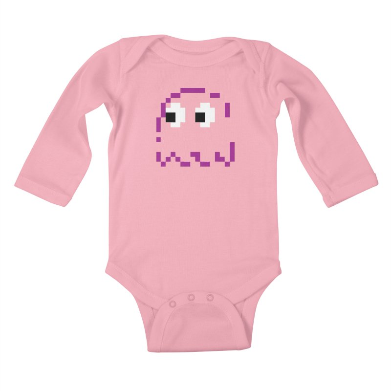 Pacman | Ghost Pinky Kids Baby Longsleeve Bodysuit by Silli Philli Produktionz