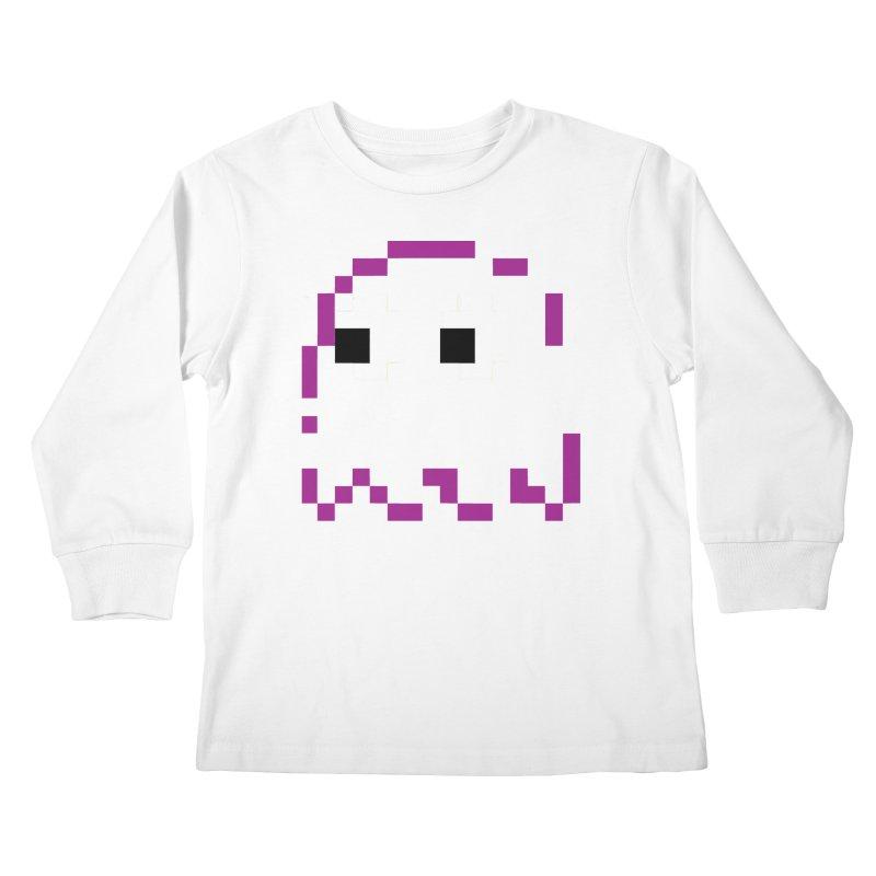 Pacman | Ghost Pinky Kids Longsleeve T-Shirt by Silli Philli Produktionz
