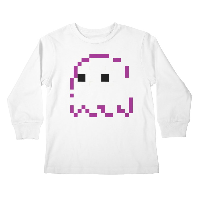 Pacman | Ghost Pinky Kids Longsleeve T-Shirt by Silli Philli Produktionz