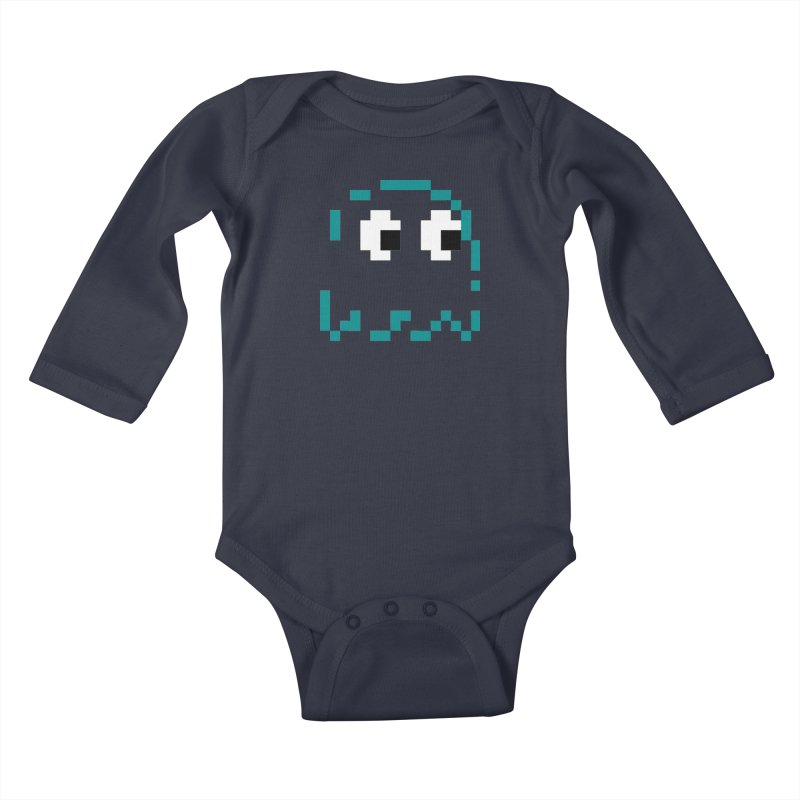Pacman | Ghost Inky Kids Baby Longsleeve Bodysuit by Silli Philli Produktionz