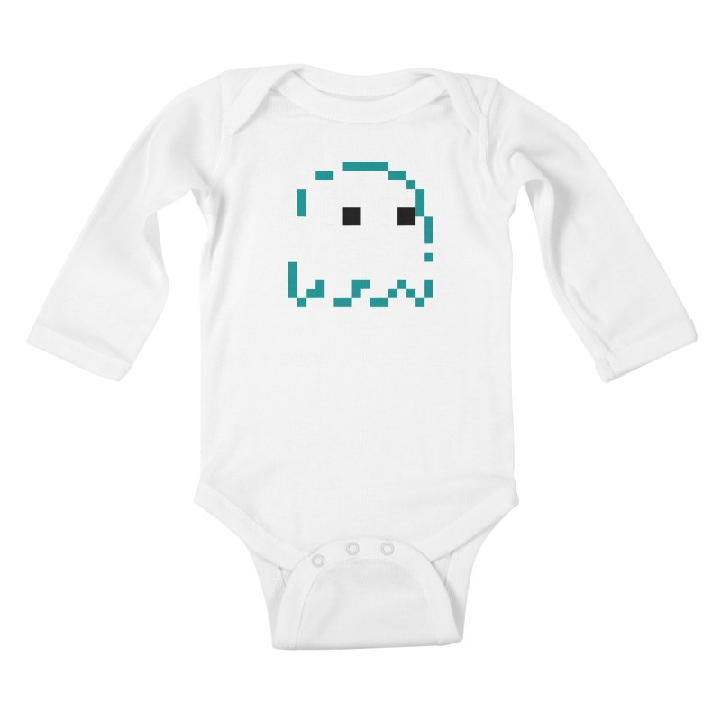 Pacman   Ghost Inky Kids Baby Longsleeve Bodysuit by Silli Philli Produktionz