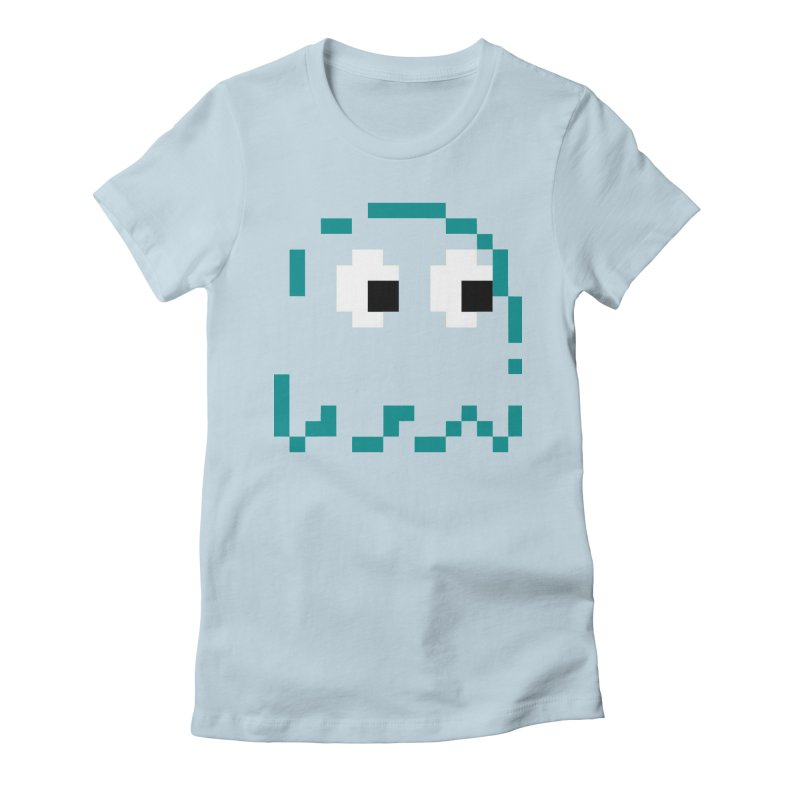 Pacman | Ghost Inky Women's Fitted T-Shirt by Silli Philli Produktionz