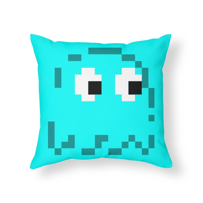 Pacman | Ghost Inky Home Throw Pillow by Silli Philli Produktionz