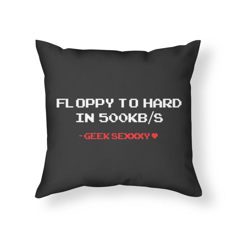 Geek Sexxxy | Floppy to Hard  - Dark Home Throw Pillow by Silli Philli Produktionz