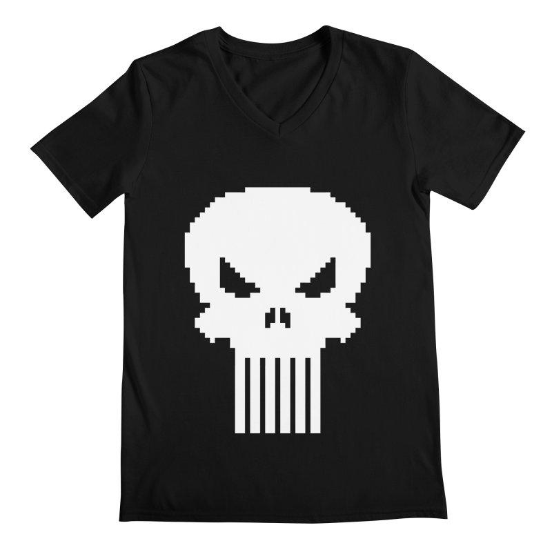Punisher Classic - Pixel Logo Men's Regular V-Neck by Silli Philli Produktionz