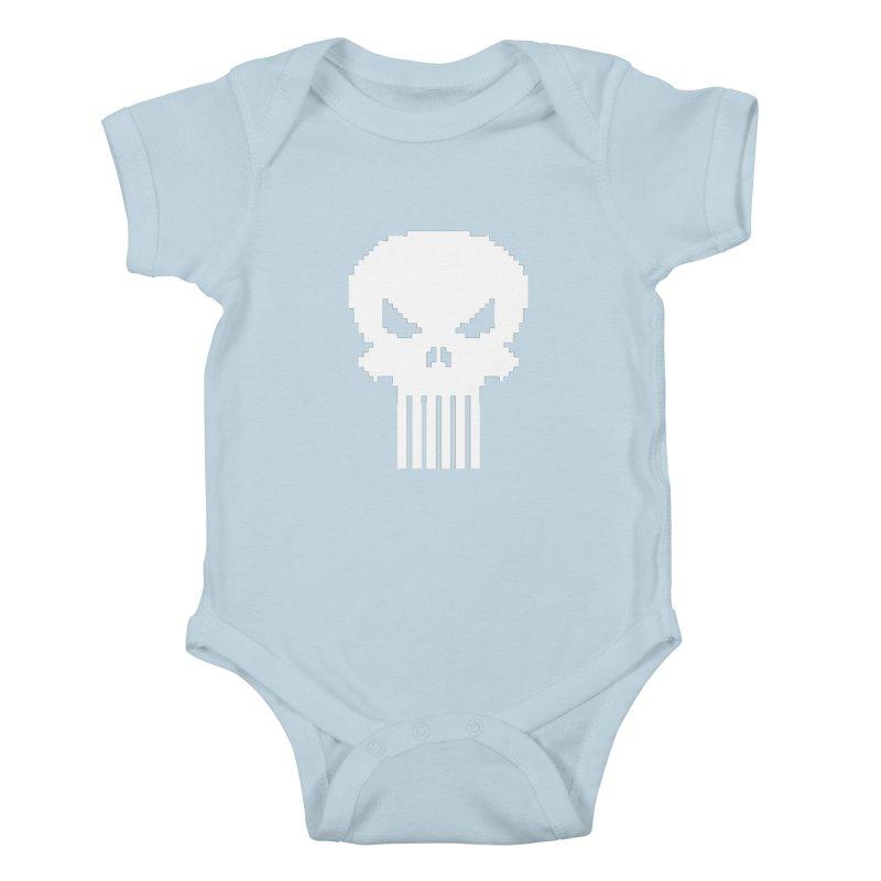 Punisher Classic - Pixel Logo Kids Baby Bodysuit by Silli Philli Produktionz
