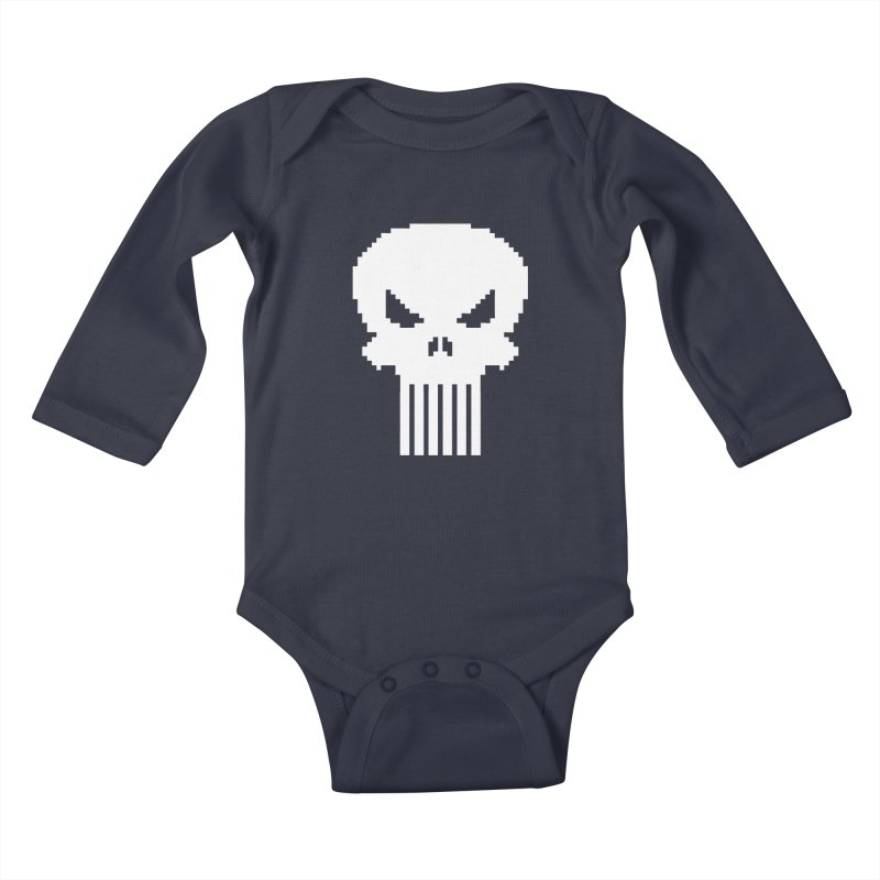 Punisher Classic - Pixel Logo Kids Baby Longsleeve Bodysuit by Silli Philli Produktionz