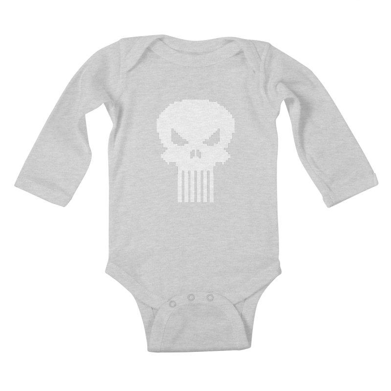 Punisher Classic - Pixel Logo Kids Baby Longsleeve Bodysuit by Silli Philli Produktionz