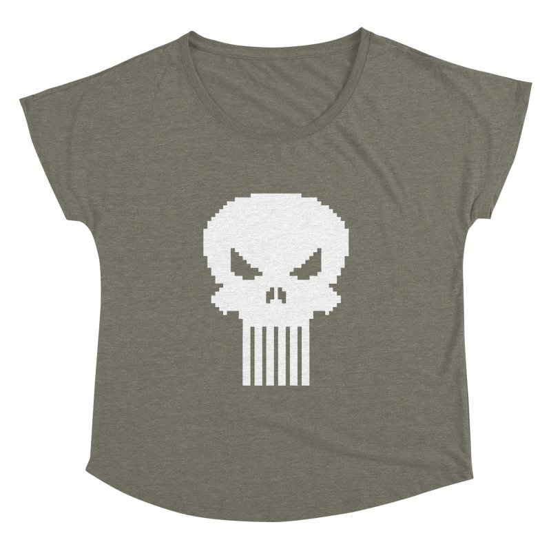Punisher Classic - Pixel Logo Women's Dolman Scoop Neck by Silli Philli Produktionz