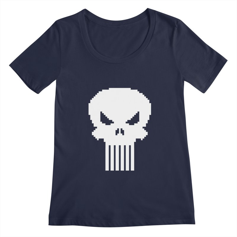 Punisher Classic - Pixel Logo Women's Regular Scoop Neck by Silli Philli Produktionz