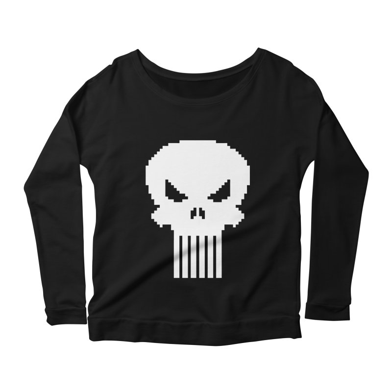 Punisher Classic - Pixel Logo Women's Scoop Neck Longsleeve T-Shirt by Silli Philli Produktionz