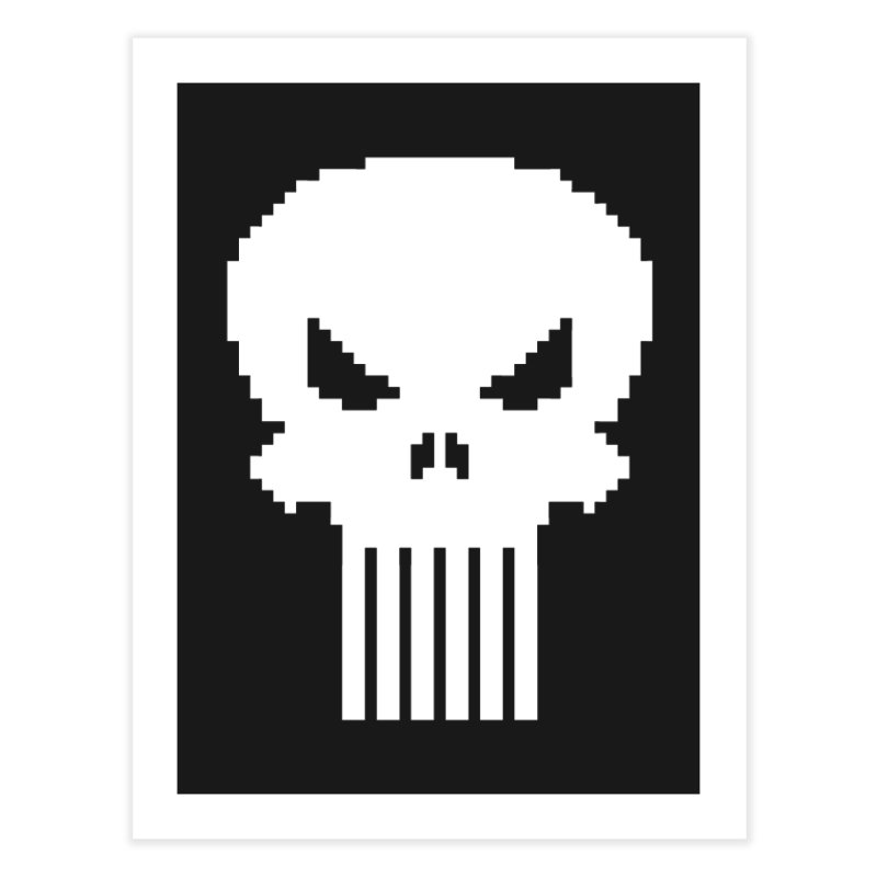 Punisher Classic - Pixel Logo Home Fine Art Print by Silli Philli Produktionz | Custom Prints