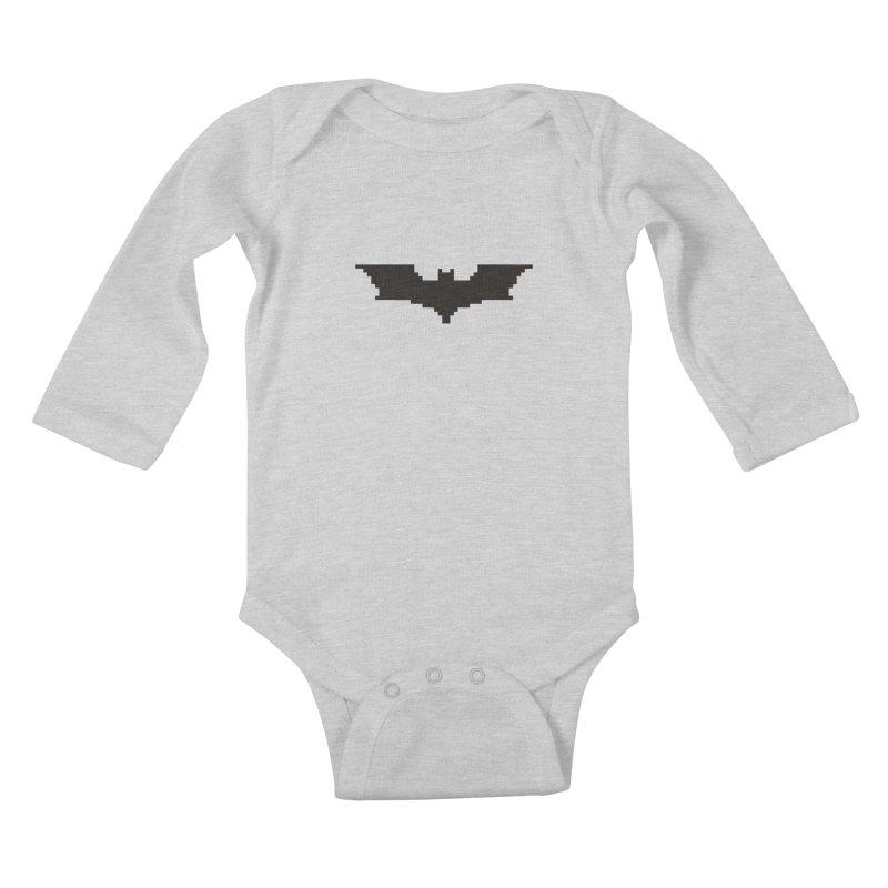 Batman Begins - Pixel Logo Kids Baby Longsleeve Bodysuit by Silli Philli Produktionz