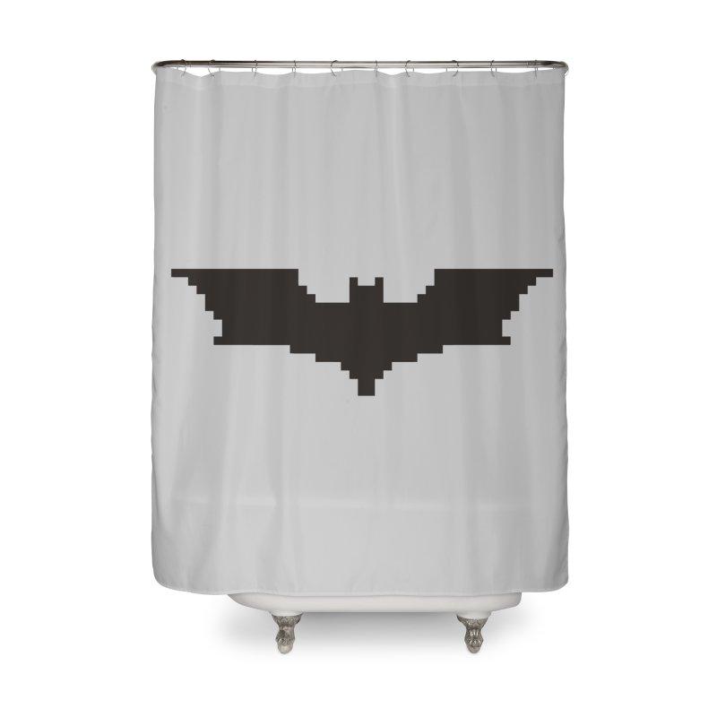 Batman Begins - Pixel Logo Home Shower Curtain by Silli Philli Produktionz