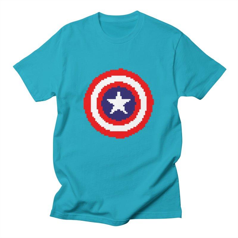 Captain America | Pixel Logo Men's T-Shirt by Silli Philli Produktionz | Custom Prints