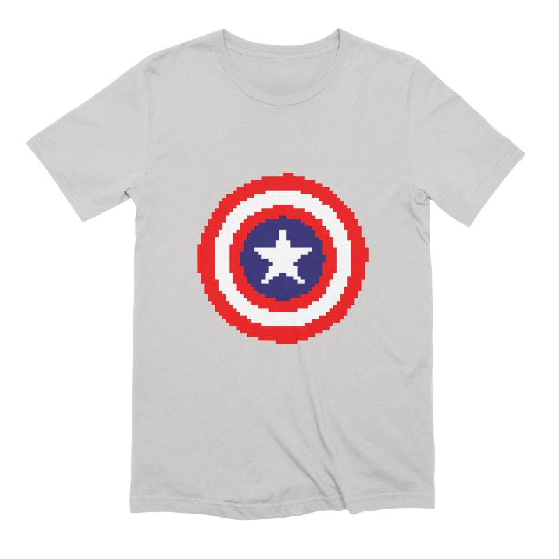 Captain America | Pixel Logo Men's Extra Soft T-Shirt by Silli Philli Produktionz