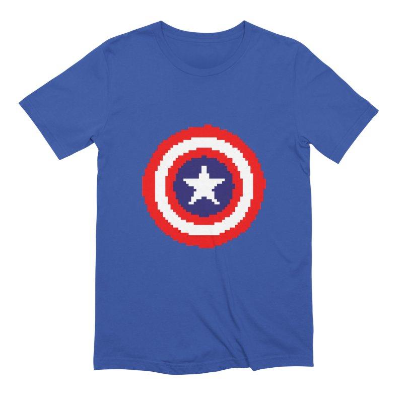 Captain America | Pixel Logo Men's Extra Soft T-Shirt by Silli Philli Produktionz