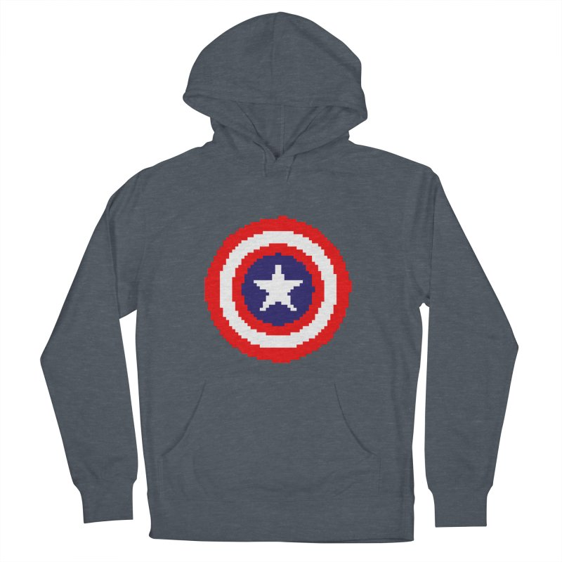 Captain America | Pixel Logo Women's French Terry Pullover Hoody by Silli Philli Produktionz