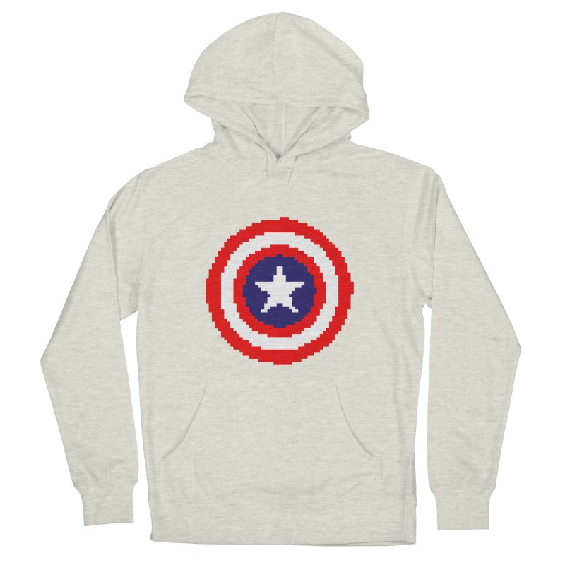 Captain America | Pixel Logo Men's French Terry Pullover Hoody by Silli Philli Produktionz