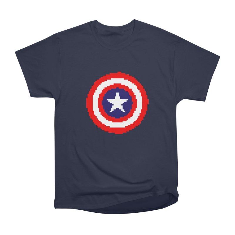 Captain America | Pixel Logo Women's Heavyweight Unisex T-Shirt by Silli Philli Produktionz