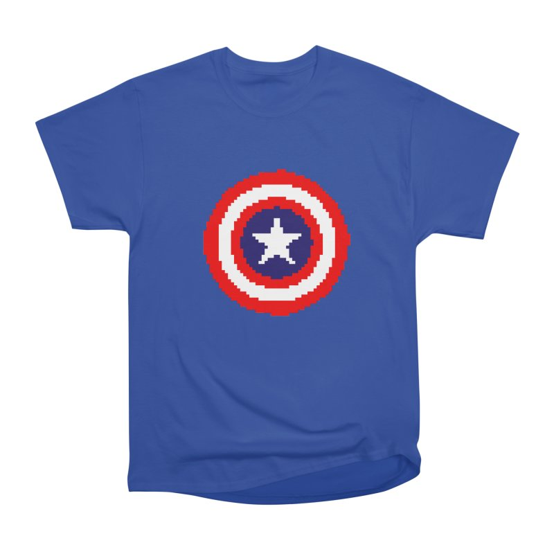 Captain America | Pixel Logo Women's Heavyweight Unisex T-Shirt by Silli Philli Produktionz